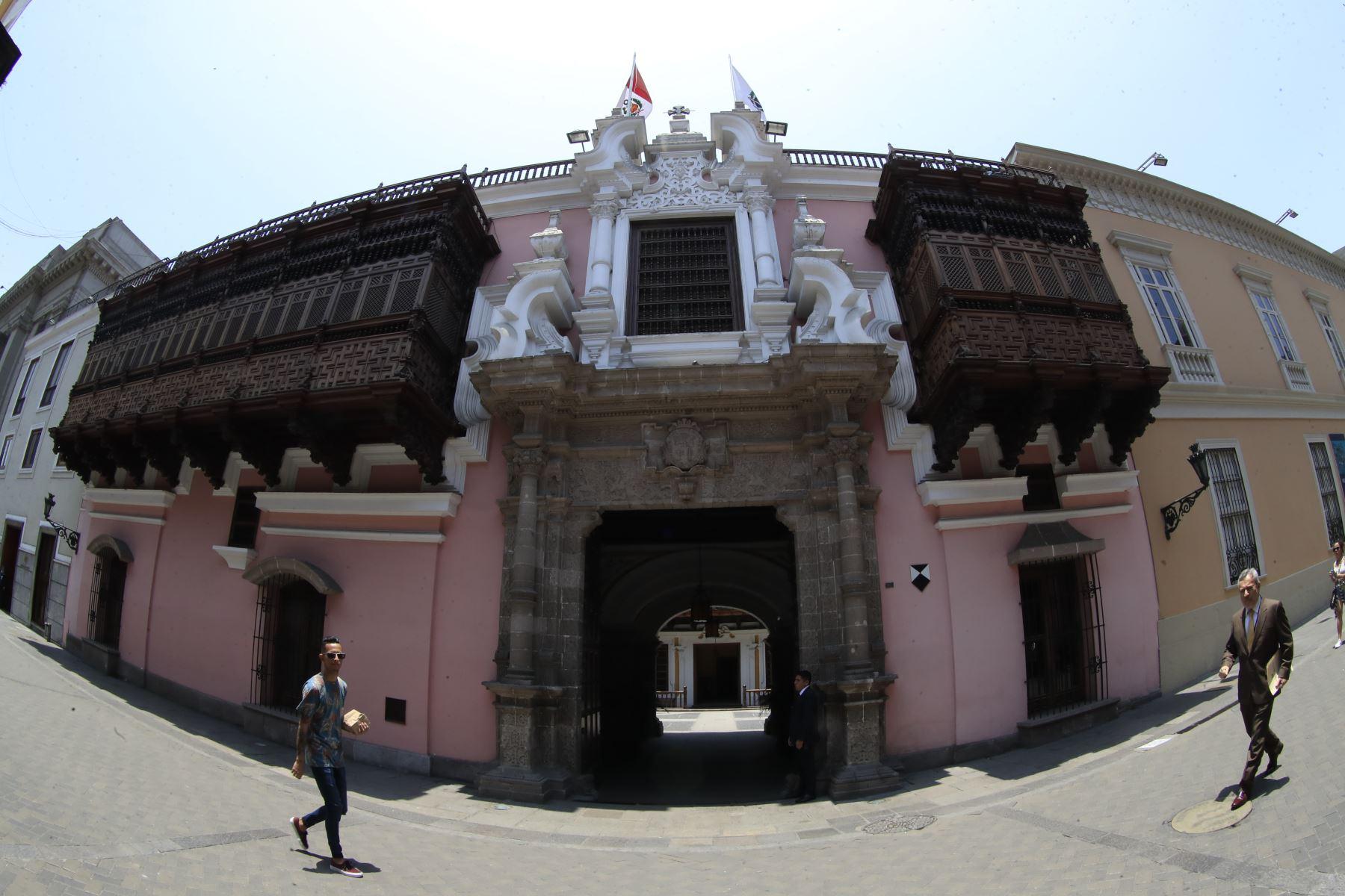 Fachada del Palacio de Torre Tagle, sede del Ministerio de Relaciones Exteriores del Perú. ANDINA/Juan Carlos Guzmán