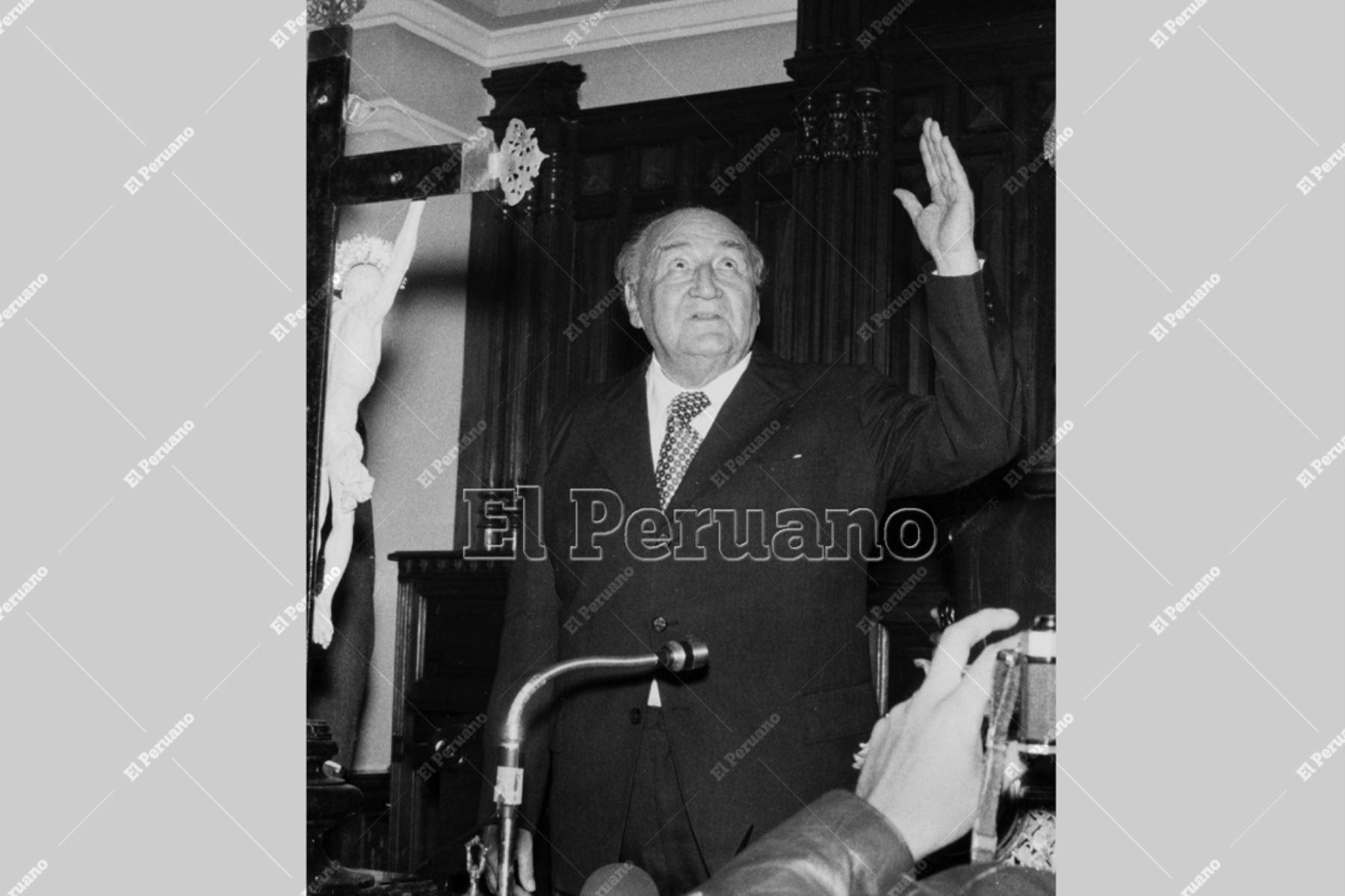 LIMA - 18 julio 1978 / El lider del APRA, Víctor Raúl Haya de la Torre, presidiendo la instalación de la Junta Preparatoria de la Asamblea Constituyente en el hemiciclo de la Cámara de Diputados del Congreso. Foto: Archivo Histórico de El Peruano.