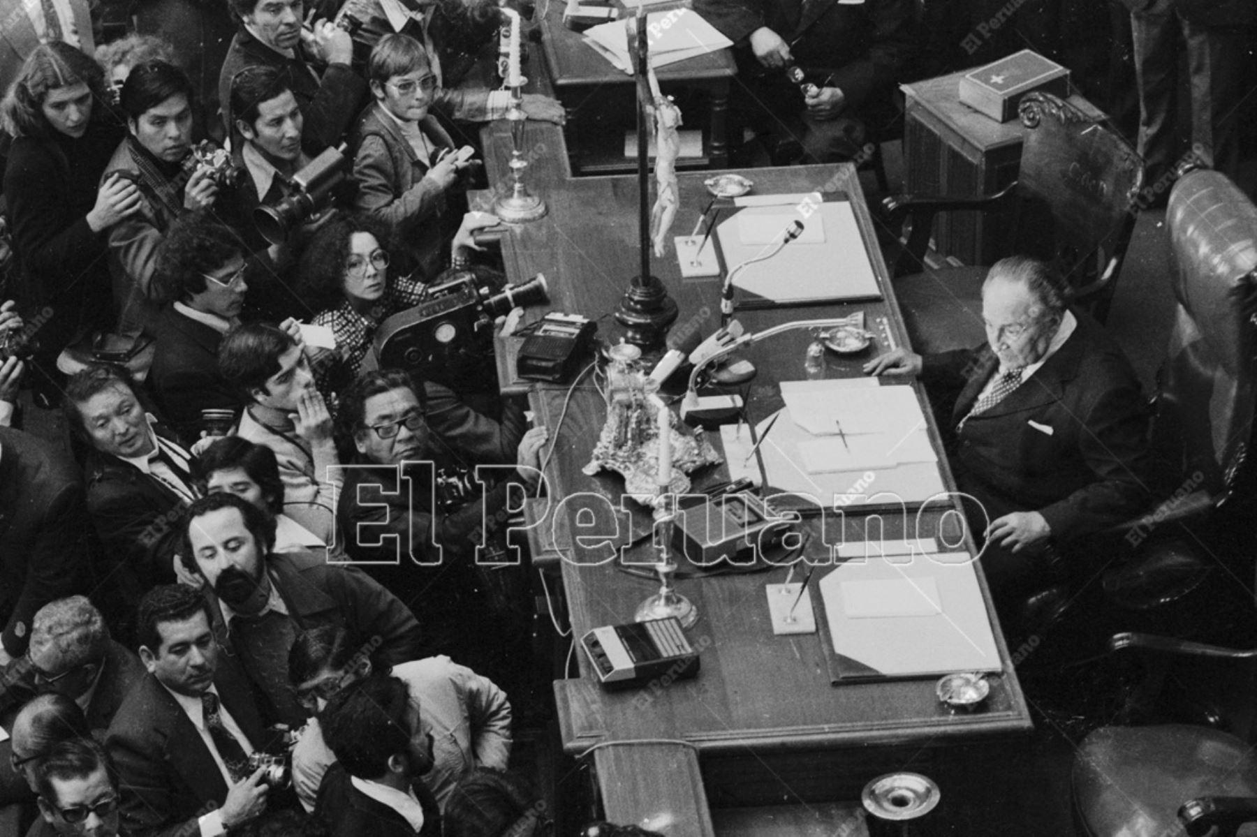 Lima - 18 de julio 1978 / Víctor Raúl Haya de la Torre presidiendo la Junta Preparatoria de la Asamblea Constituyente en el hemiciclo de la Cámara de Diputados del Congreso.  Foto: Archivo El Peruano