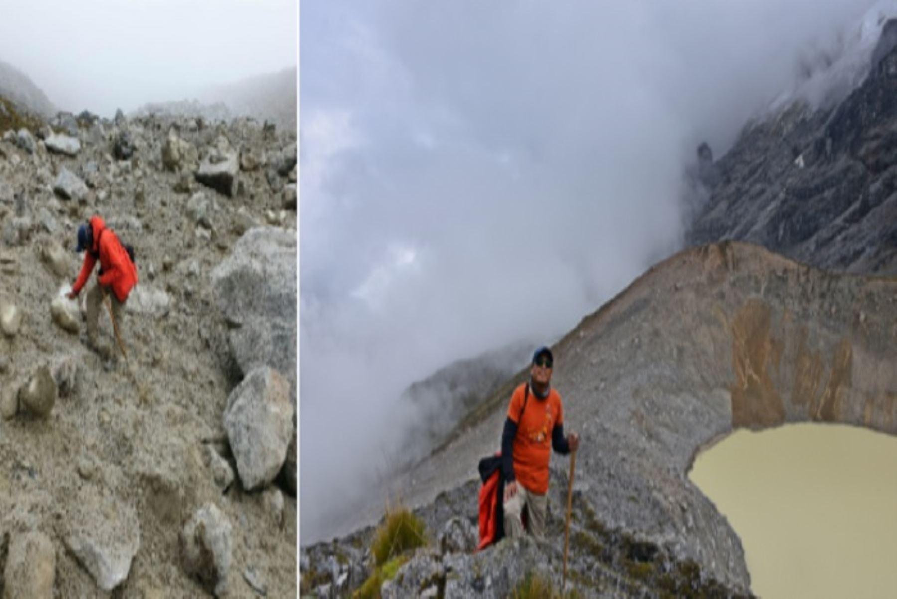 Especialista en glaciares en labores de inspección en la zona de afectación de la laguna Salkantaycocha.