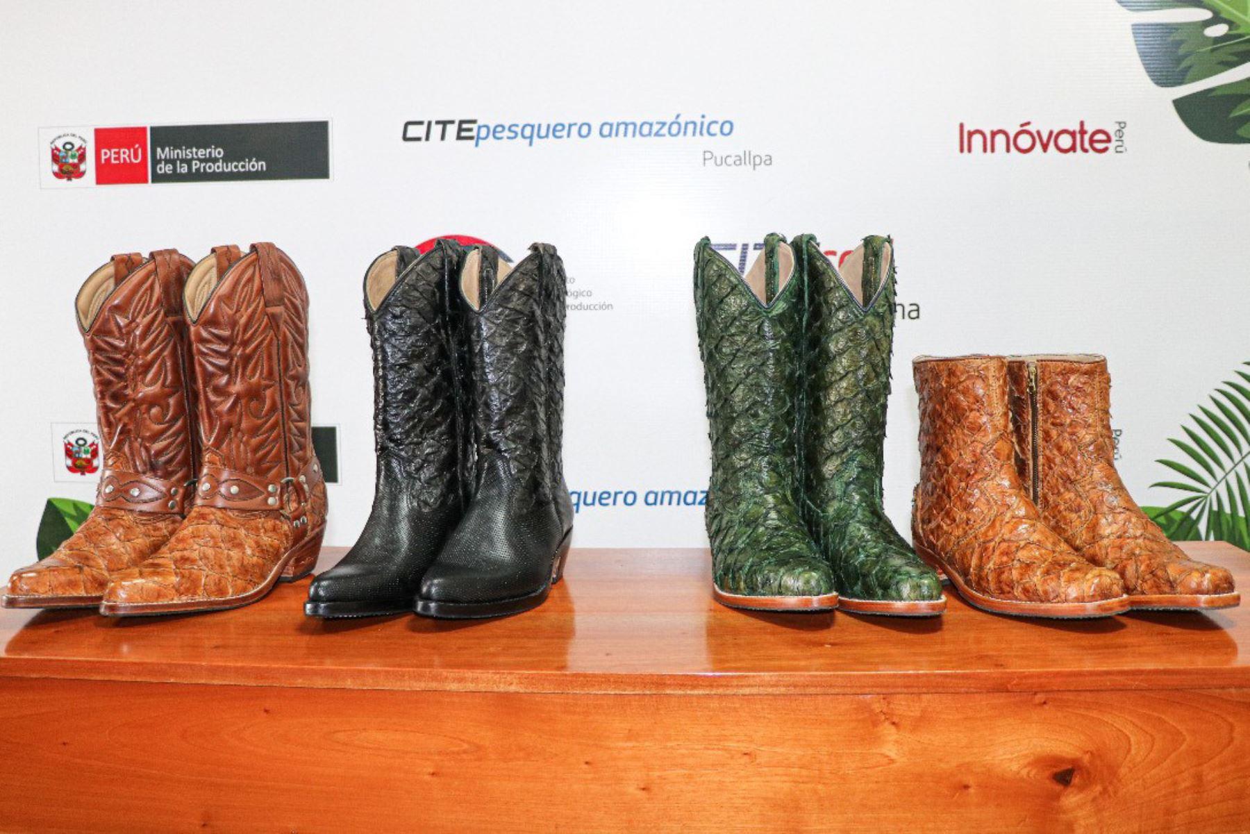 Estos son los primeros botines tipo vaquero, elaborados con piel de paiche, el pez de agua dulce más grande del mundo, con apoyo del CITE Pesquero del Ministerio de la Producción.