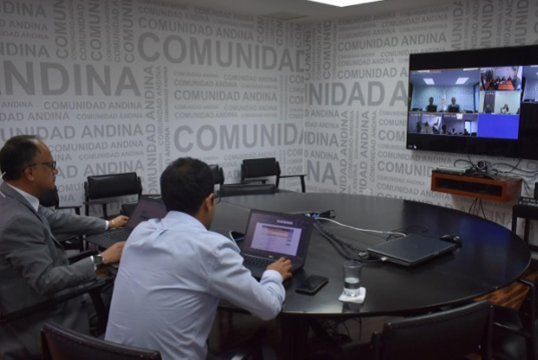 Videoconferencia en la Comunidad Andina. Foto: Cortesía.
