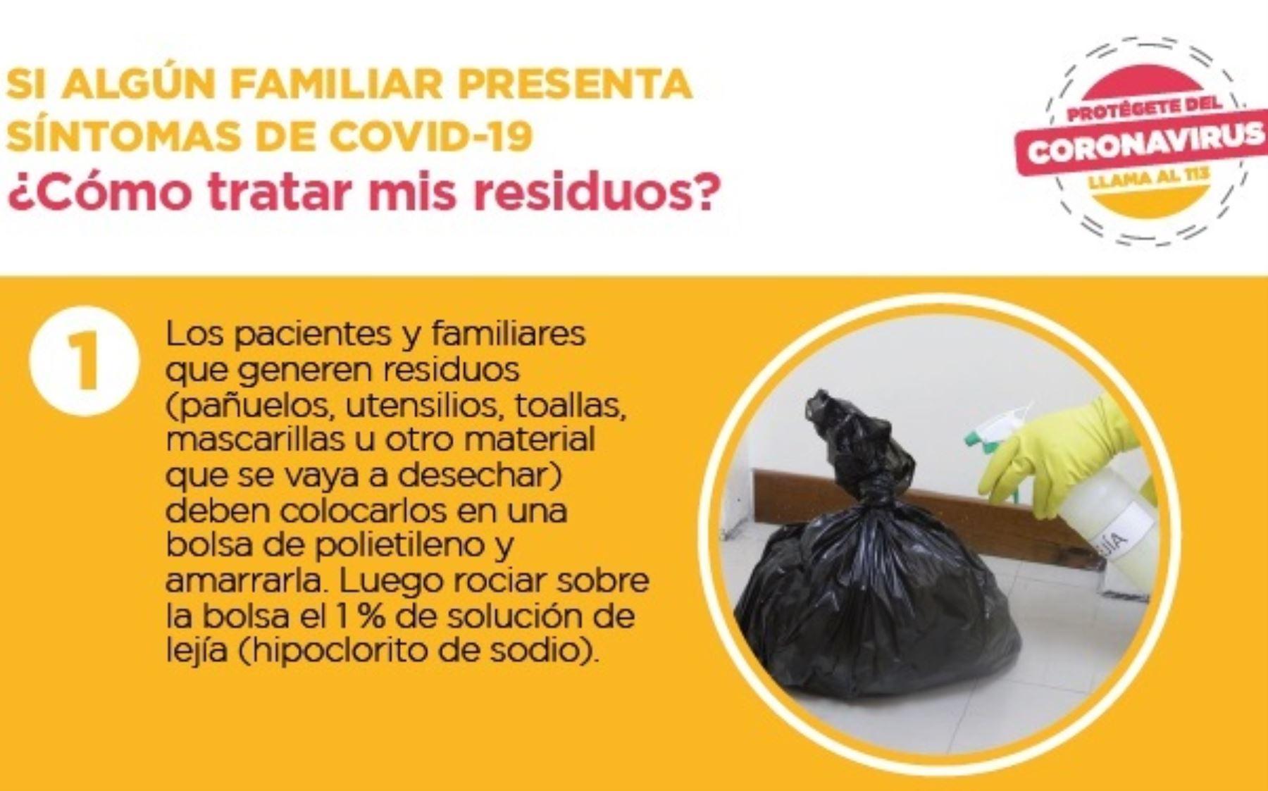 El Ministerio del Ambiente (Minam) presenta el protocolo que se debe seguir para tratar los residuos sólidos si algún familiar presenta síntomas de coronavirus (Covid-19). ANDINA/Difusión