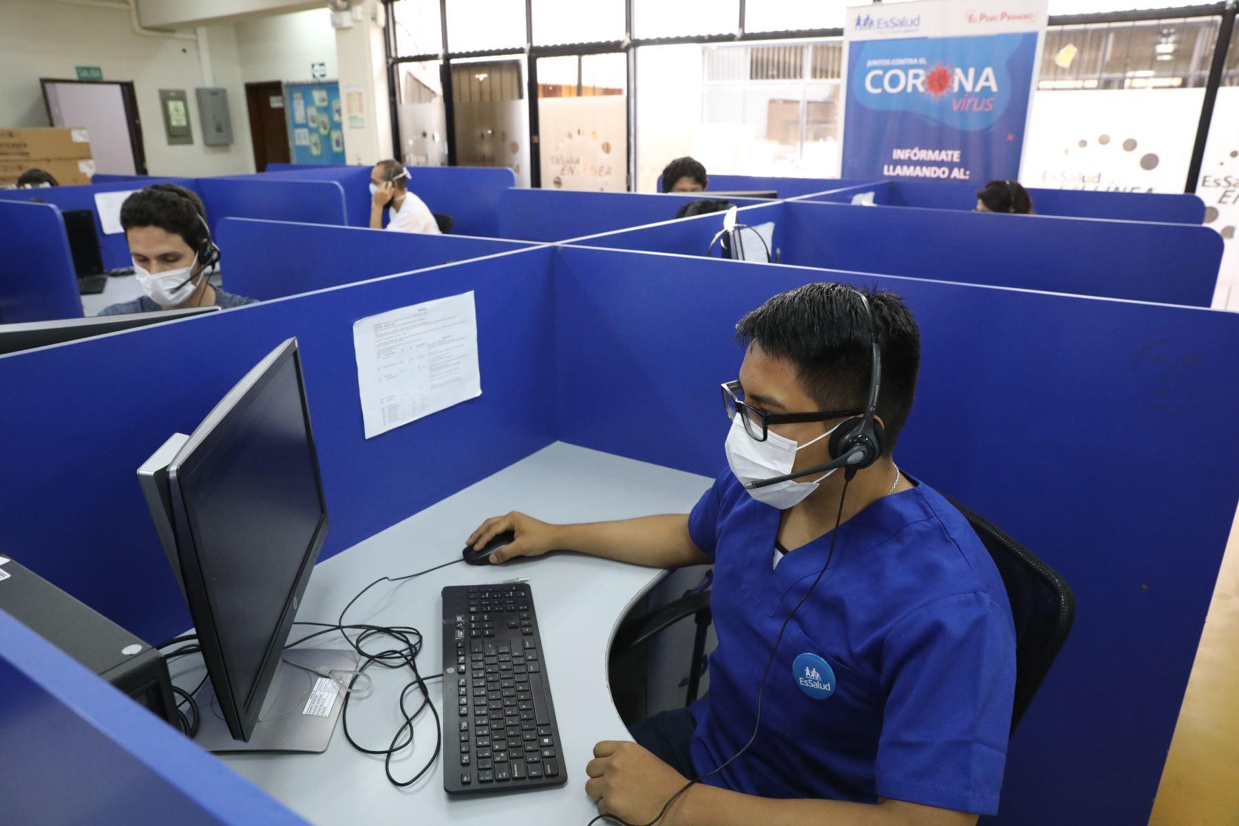 Línea 107: Atención gratuita y especializada en COVID-19 de EsSalud Foto: ANDINA/Essalud