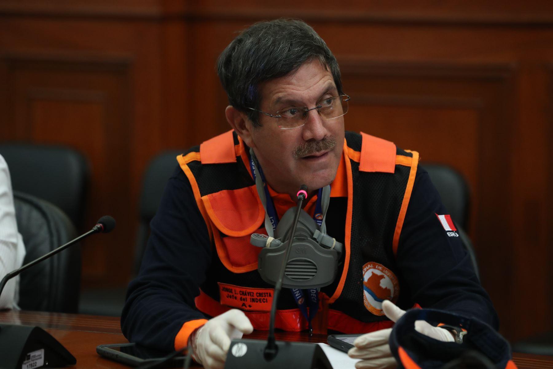 Gral.Jorge Chávez, jefe de Indeci participò en la sesión de la Comisión Multisectorial Coronavirus.Foto: ANDINA/PCM