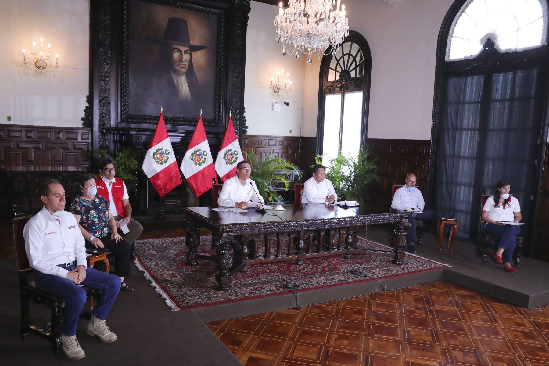 Presidente Vizcarra y ministros de Estado informan sobre las medidas y acciones que se implementan en el Estado de Emergencia Nacional. Foto:ANDINA/Prensa Presidencia