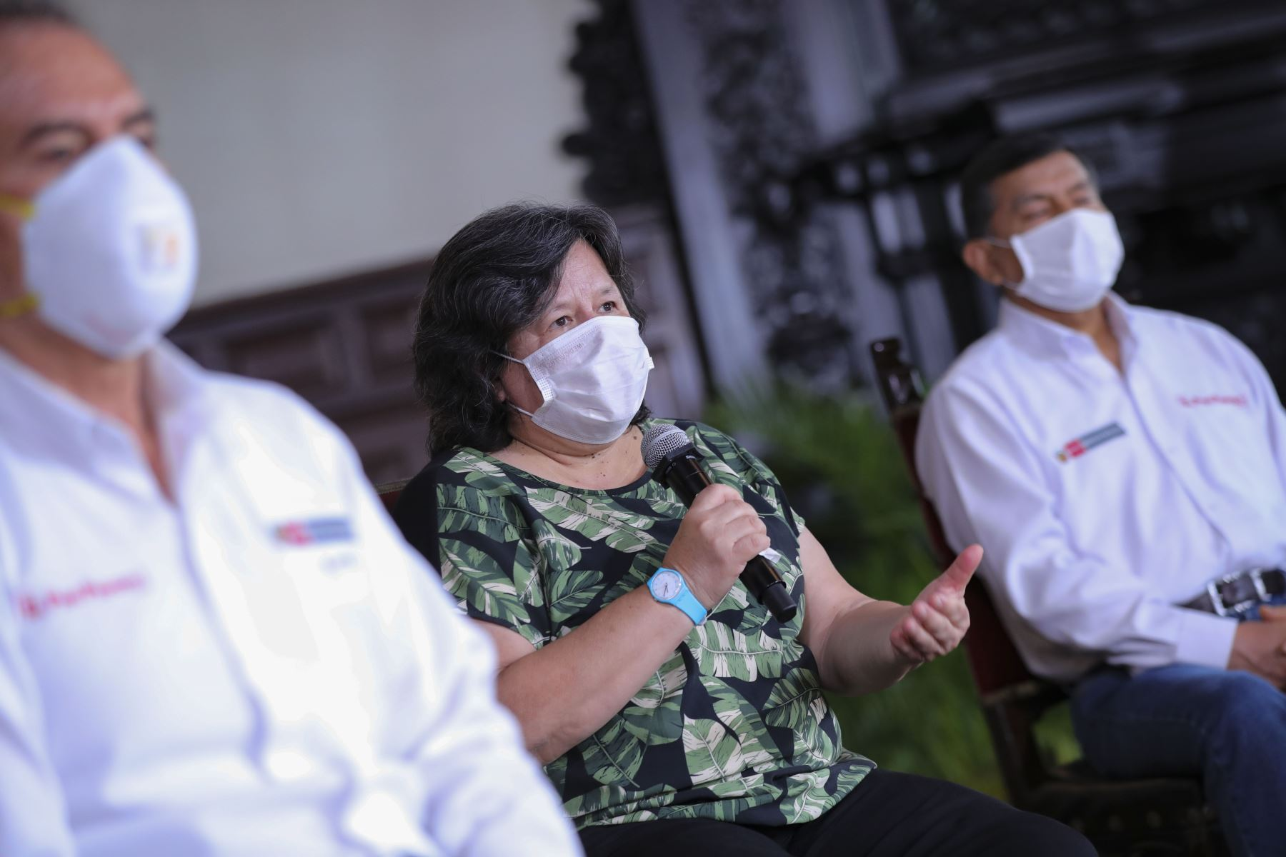 La ministra de Desarrollo e Inclusión Social, Ariela Luna,informa junto a Ministros de Estado  sobre la situación del Estado de Emergencia en el día 16 y las acciones que realiza el Gobierno para contener la propagación del covid-19. Foto: ANDINA/Prensa Presidencia