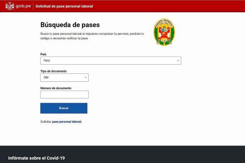 Portal oficial para la renovación de pases personales para los trabajadores de actividades esenciales.