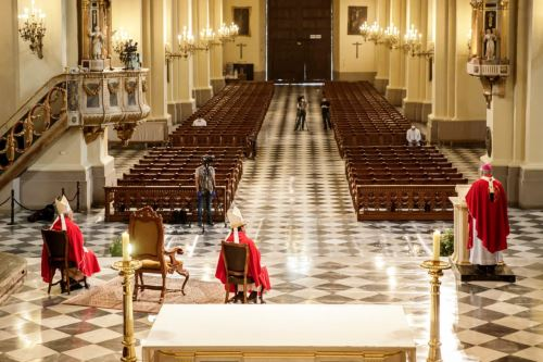 Arzobispo de Lima realiza celebración Domingo de Ramos en memoria fallecidos por coronavirus
