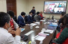 Autoridades de Ayaccho sostuvieron una reunión virtual donde supervisaron el cumplimiento de medidas para evitar la propagación del coronavirus en la región. ANDINA/Difusión