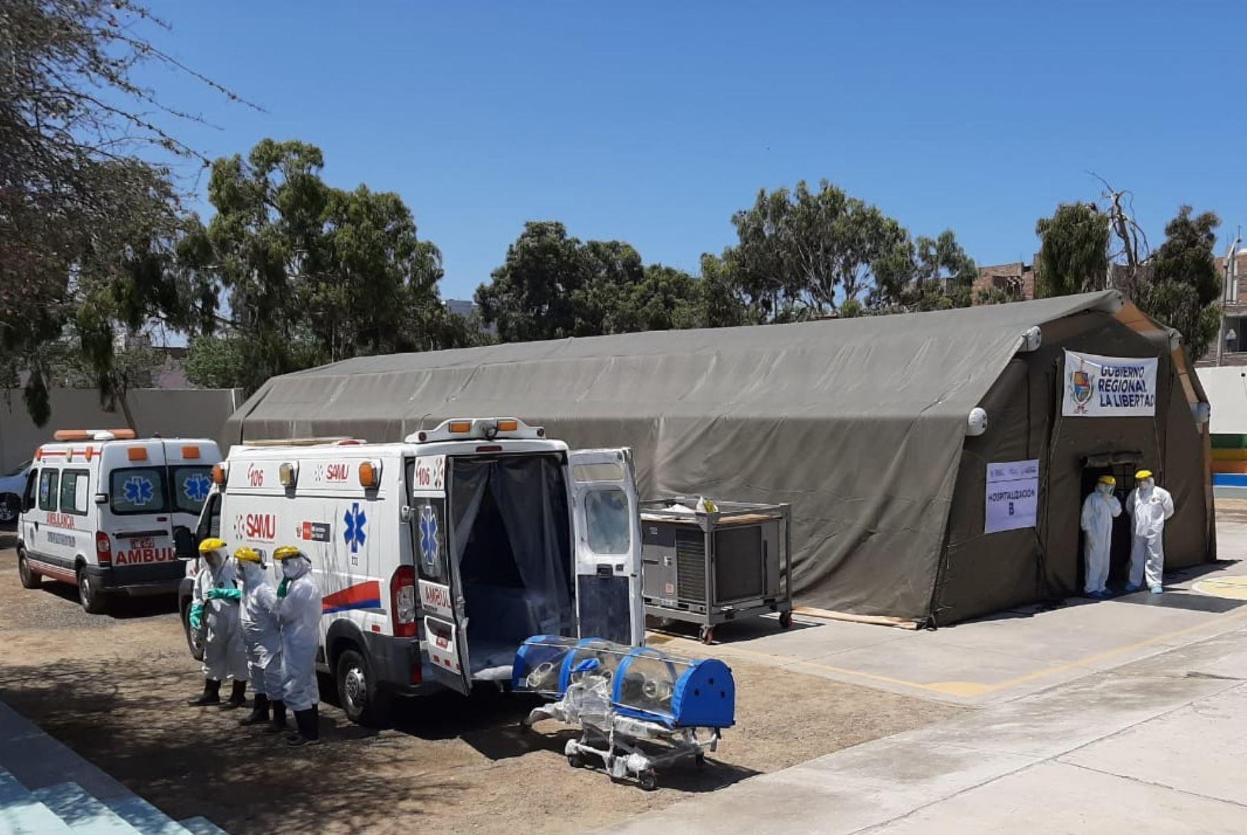 La Libertad presenta hospital móvil que reforzará tratamiento del coronavirus que brinda el Hospital Regional Docente de Trujillo. ANDINA/Difusión