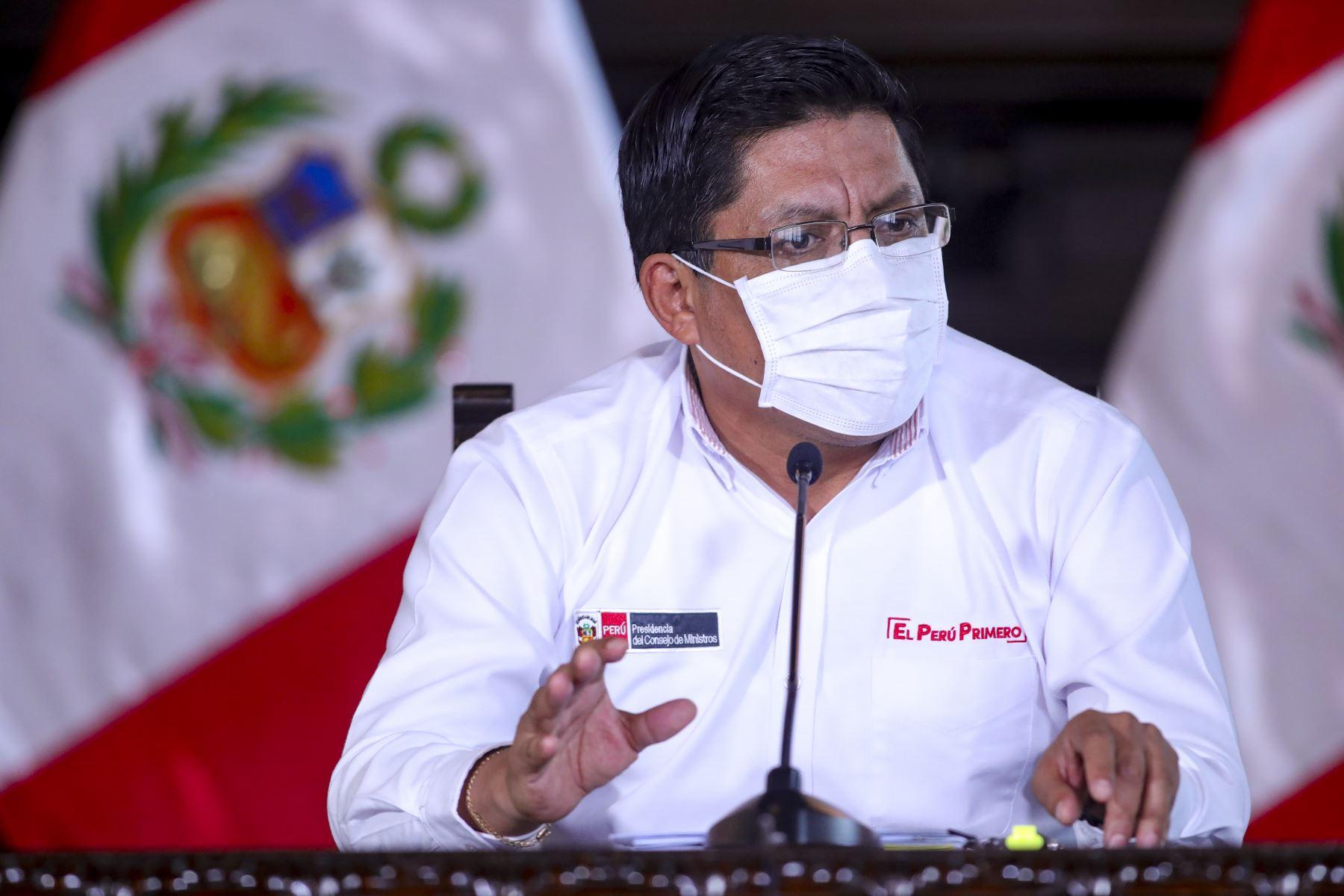 Primer ministro Vicente Zeballos informó sobre diferentes las medidas adoptadas de su sector, en el marco del estado de emergencia nacional por el coronavirus (covid-19). Foto: ANDINA/ Prensa Presidencia