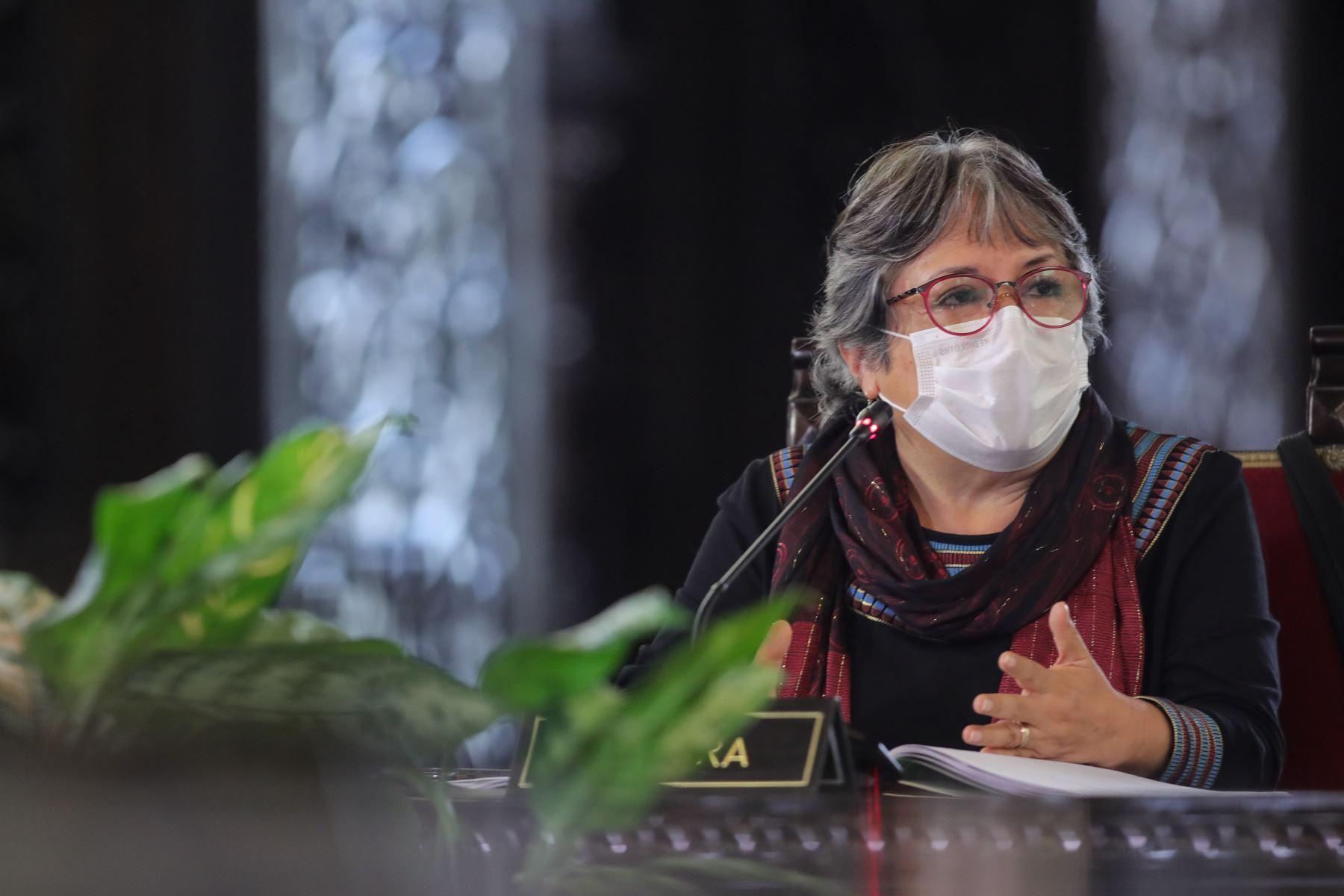 Ministra de Cultura, Sonia Guillén   informa sobre diferentes medidas adoptadas por su sector, en el marco del estado de emergencia nacional por el coronavirus .  Foto: ANDINA/ Prensa Presidencia
