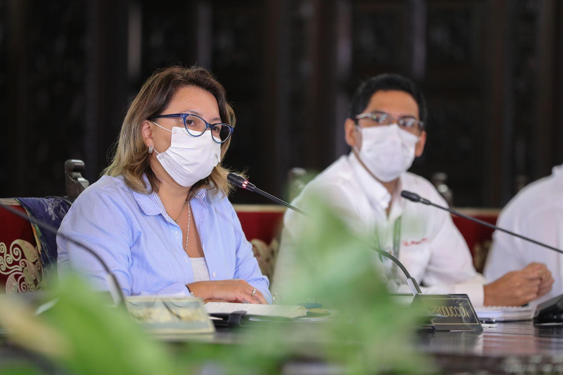 Ministra  de la Producción, Rocío Barrios informa sobre diferentes medidas adoptadas por su sector, en el marco del estado de emergencia nacional por el coronavirus. Foto: ANDINA/ Prensa Presidencia