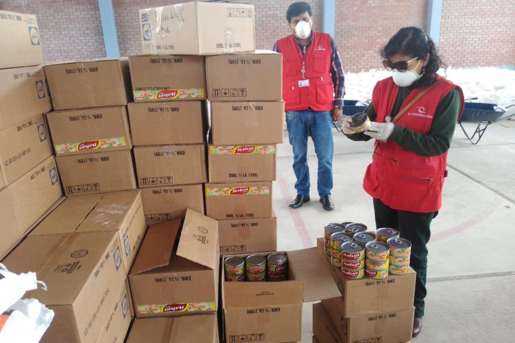 Contraloría realiza visita a Municipalidad Distrital de Baños del Inca en Cajamarca para verificar la calidad de los productos incluidos en las canastas de víveres a familias vulnerables COVID19 durante el  Mega Operativo Emergencia sanitaria.  Foto:ANDINA/Difusión