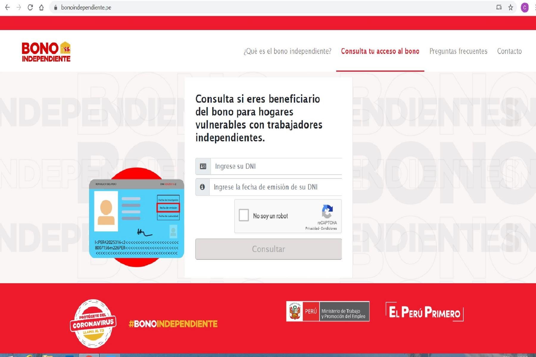 Página web: Bono independiente.