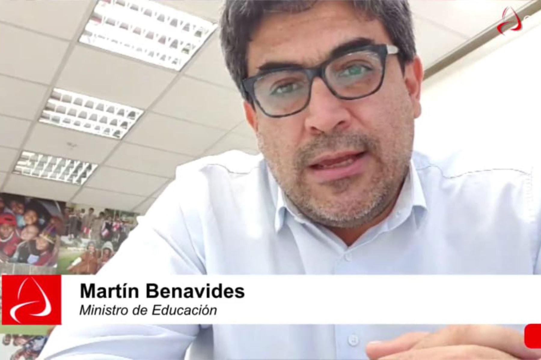 El ministro de Educación, Martín Benavides, informó que su sector está convocando a diferentes actores de la sociedad civil. Foto: ANDINA/Archivo