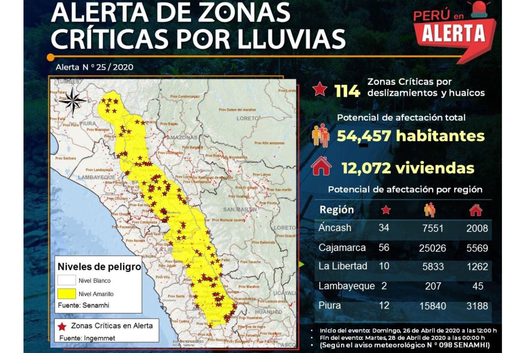 Las 133 zonas críticas en alerta por lluvias identificadas por el Ingemmet están ubicadas en 12 regiones. Foto: ANDINA/Difusión