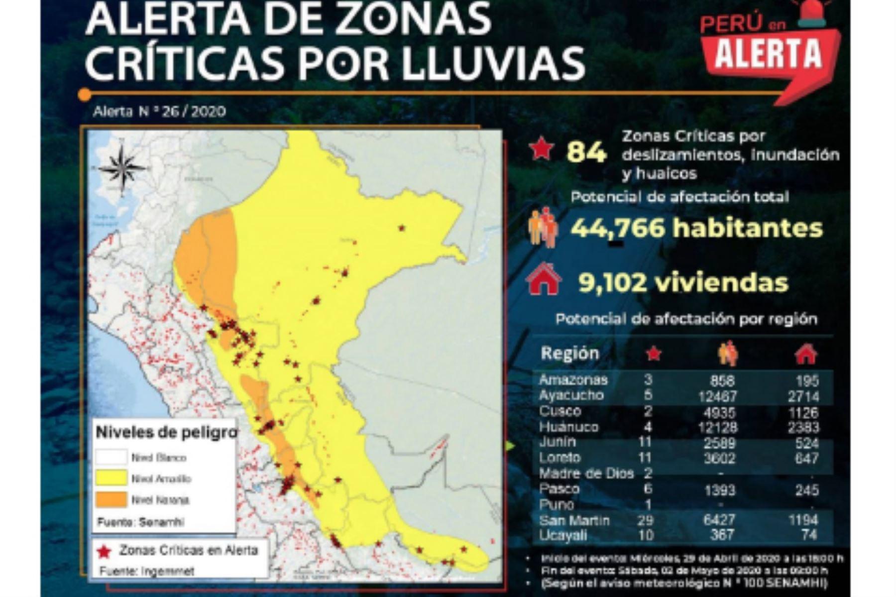En 11 regiones del país hay 84 zonas críticas en alerta por lluvias en la Selva. Foto: ANDINA/Difusión