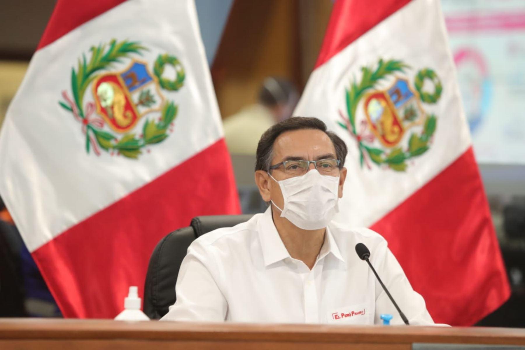 El presidente Martín Vizcarra participa en la sesión 128 del foro del Acuerdo Nacional, en la cual se aborda el plan de reanudación de actividades económicas y la situación de la pandemia del coronavirus (covid-19) en el país.Foto: ANDINA/Prensa Presidencia