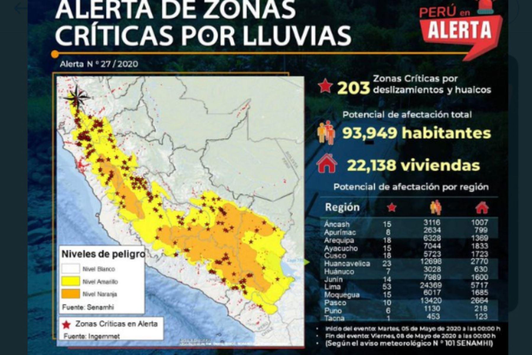 El Ingemmet informó que hay 203 zonas críticas en alerta por deslizamientos y huaicos, debido a lluvias en la Sierra. Foto: ANDINA/Difusión