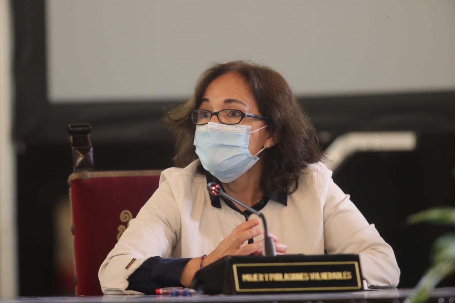 Vice ministra de Poblaciónes Vulnerables  Cecilia Aldave,  informa las medidas adoptadas por el Gobierno en el marco del estado de emergencia nacional por el coronavirus (covid-19). Foto: ANDINA/ Prensa Presidencia