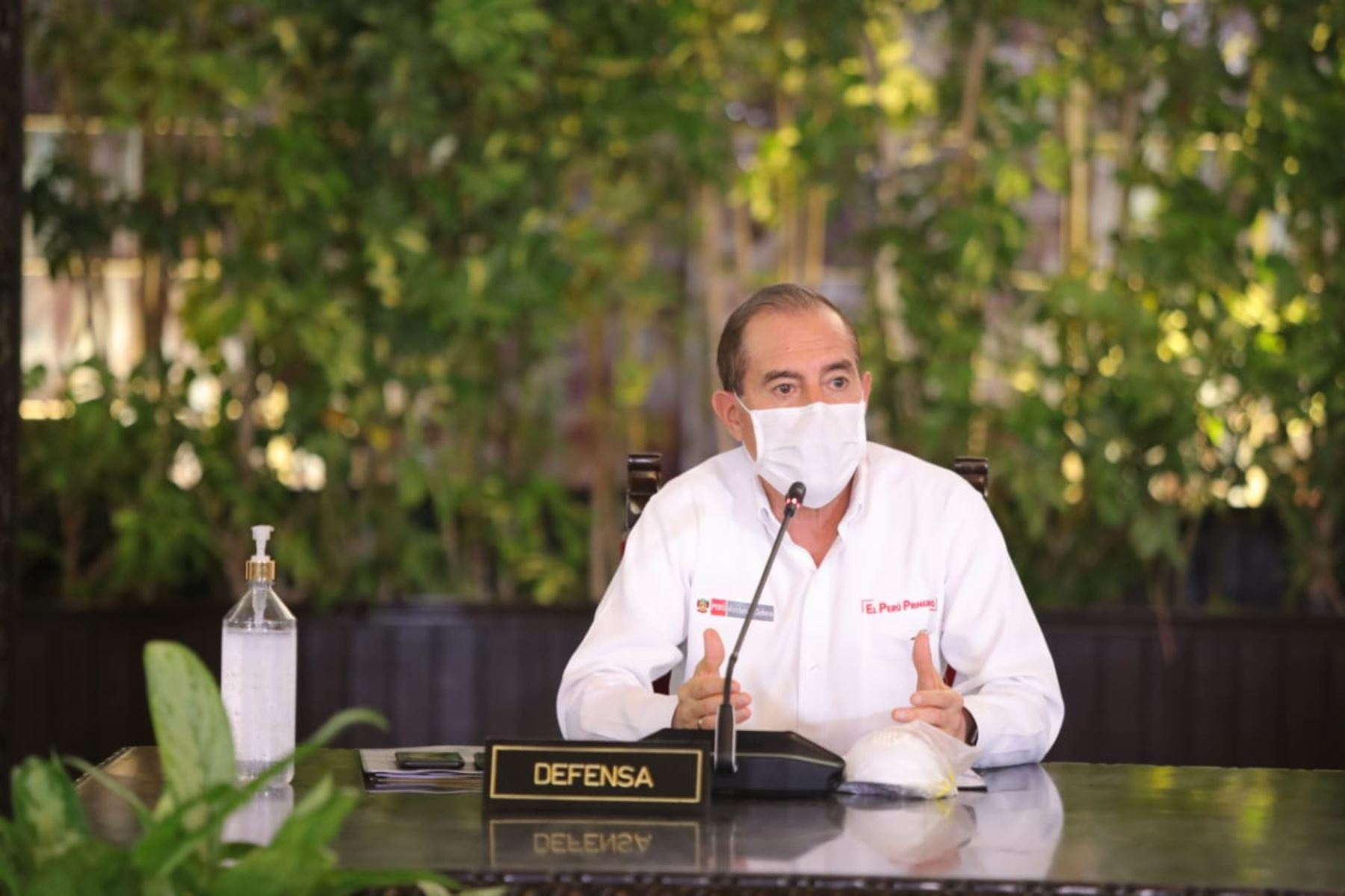 El Ministro de Defensa Walter Martos, informa las medidas adoptadas por  su sector, en el marco del estado de emergencia nacional por el coronavirus (covid-19). Foto: ANDINA/ Prensa Presidencia