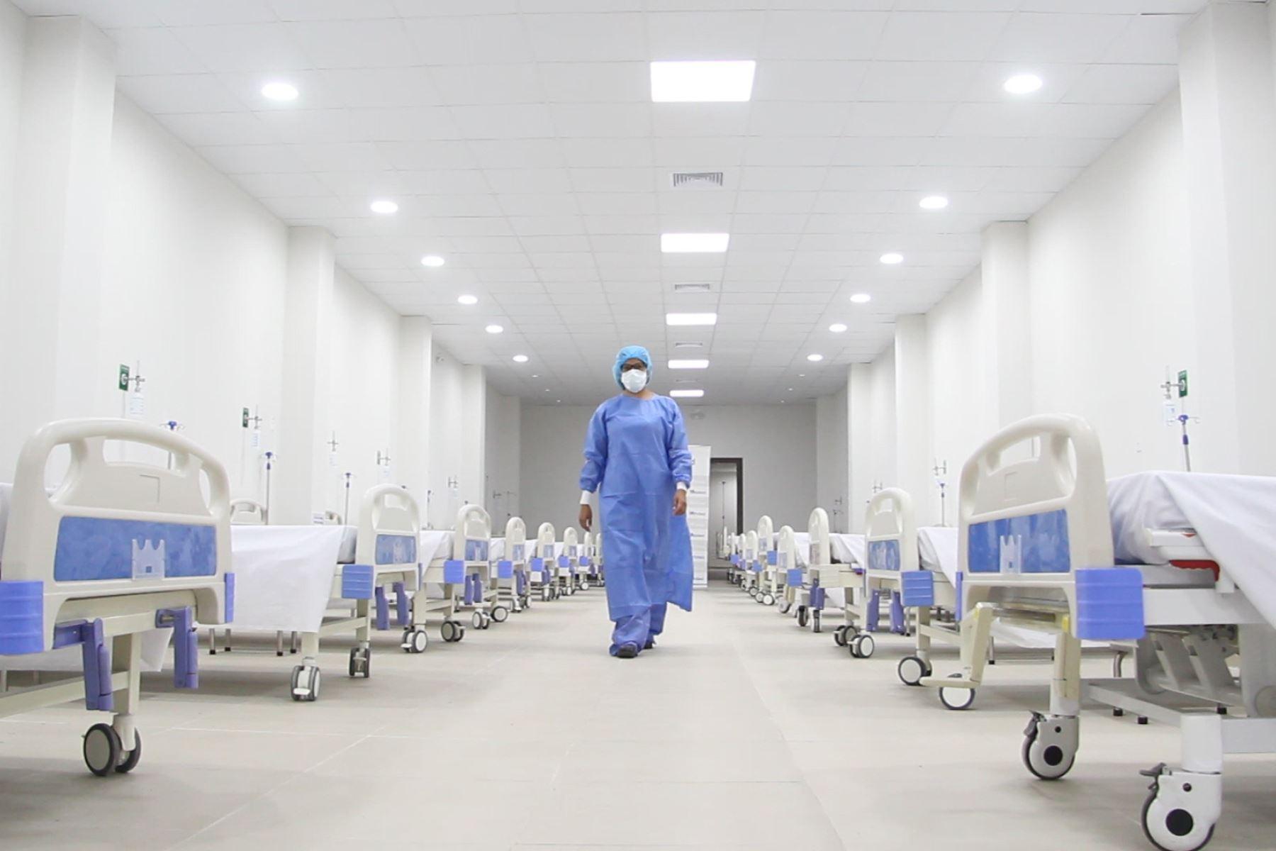 Hospital Guillermo Almenara, abre nueva Sala de Observación para pacientes no críticos de  covid -19. Foto: Essalud