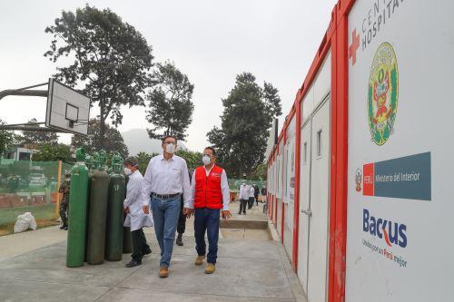 Presidente Martín Vizcarra visita Hospital de Campaña de la PNP, donado por la empresa privada
