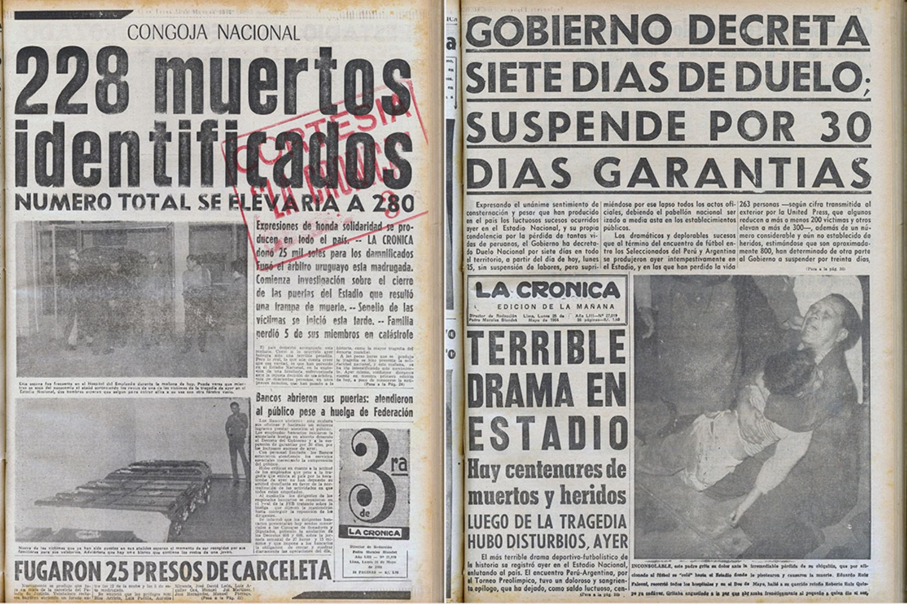 Portadas de los diarios La Tercera y La Crónica que informan sobre la tragedia del Estadio Nacional de mayo de 1964.