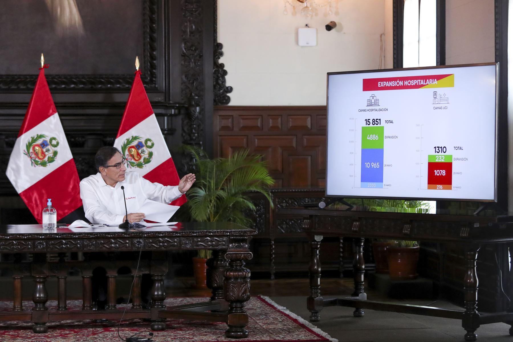 El presidente Martín Vizcarra informa a la ciudadanía los avances de las medidas adoptadas en el marco del estado de emergencia nacional prorrogado hasta el 30 de junio.  Foto: ANDINA/Prensa Presidencia