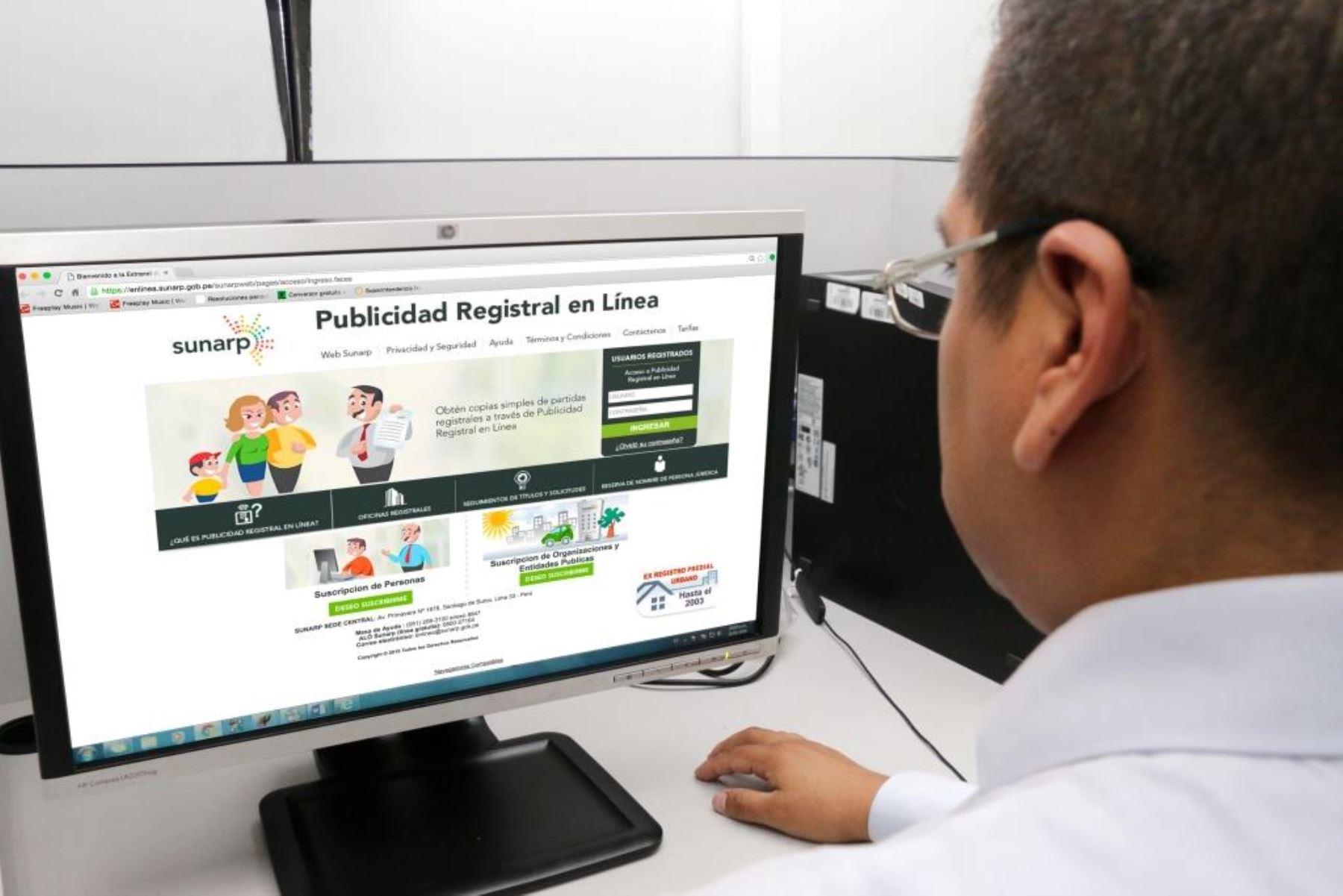 Usuarios podrán realizar este trámite a través del Servicio de Publicidad Registral en Línea.