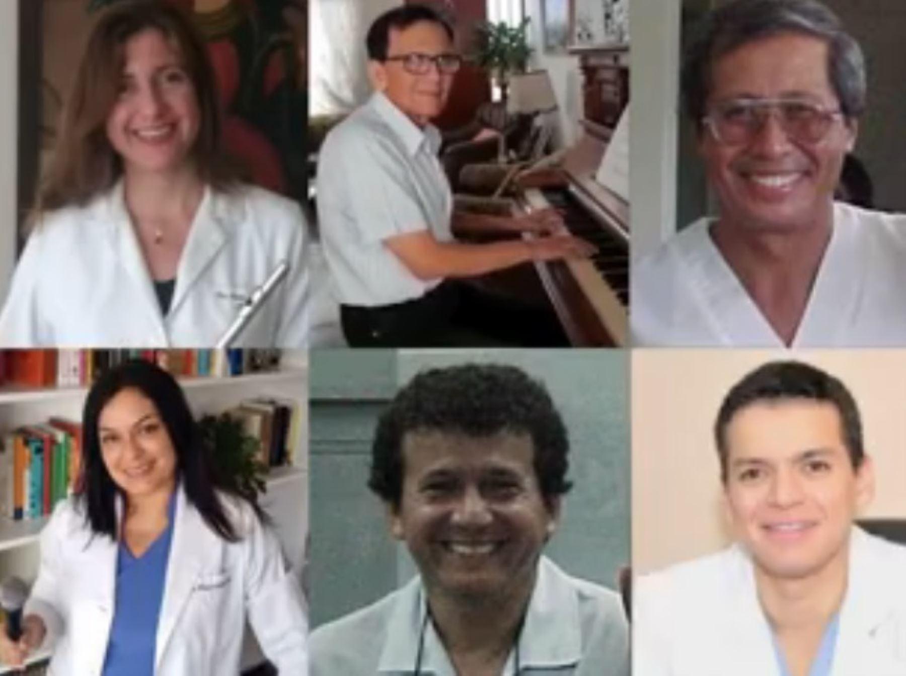 """La orquesta """"Los Galenos"""", conformada por médicos peruanos, interpretaron virtualmente este miércoles la canción titulada """"Color esperanza""""."""