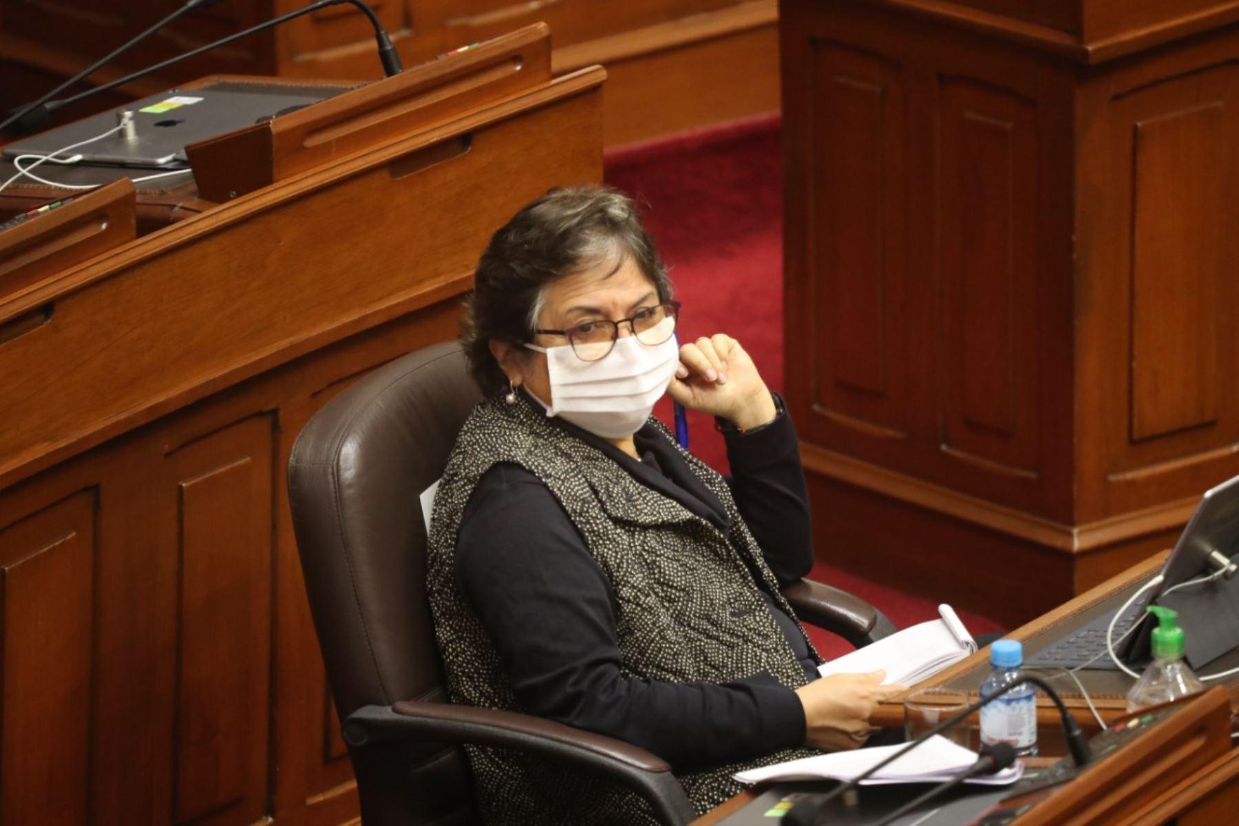 Ministra de Cultura, Sonia Guillén, en sesión del Congreso. Foto: ANDINA/PCM