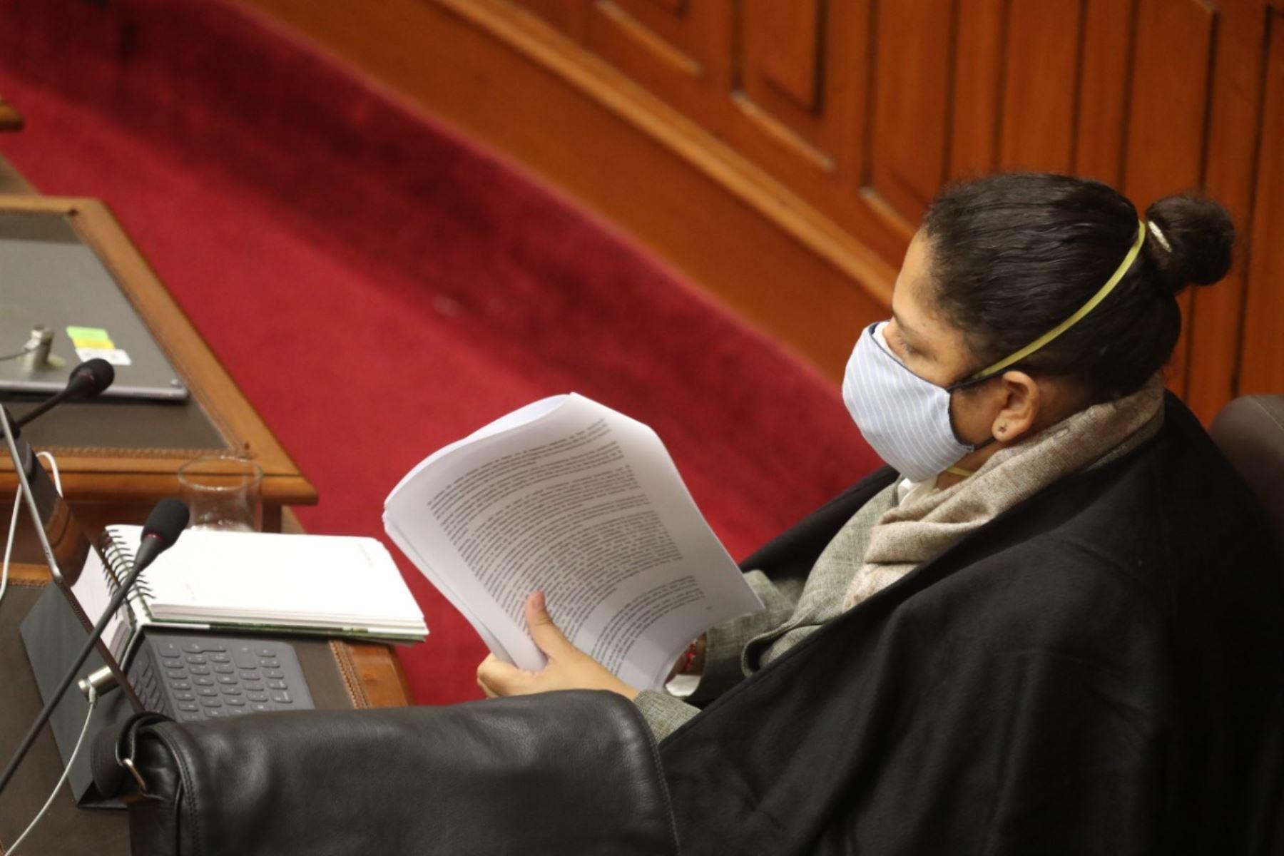 Ministra de Ambiente, Fabiola Muñoz, en sesión del Congreso. Foto: ANDINA/PCM
