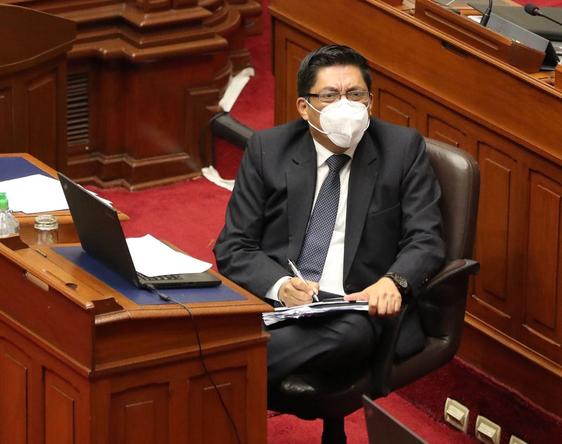 Jefe del Gabinete Ministerial, Vicente Zeballos, participa en sesión virtual del pleno del Congreso.