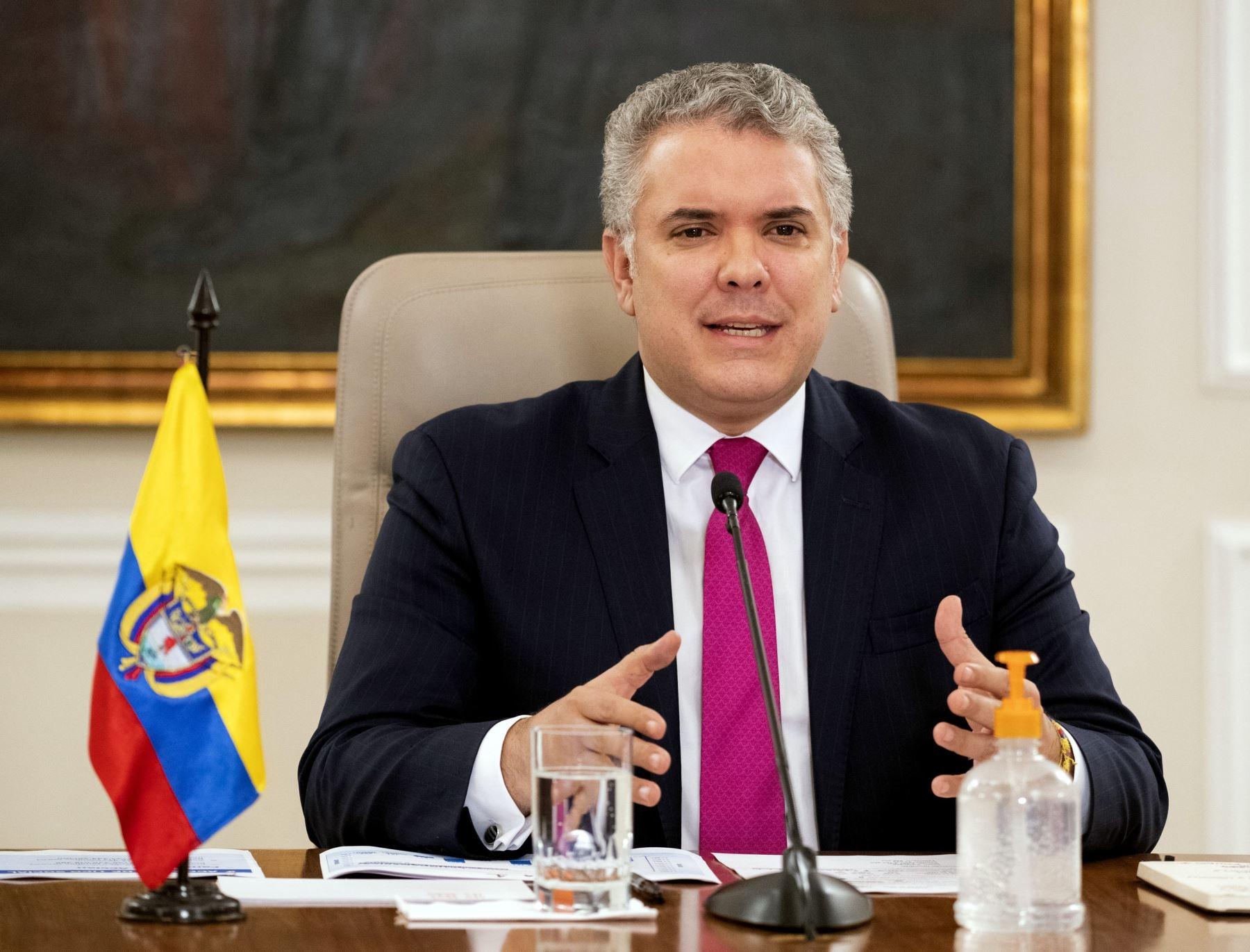 Fotografía del mandatario Iván Duque, cedida por la presidencia de Colombia (imagen de archivo). Foto: EFE