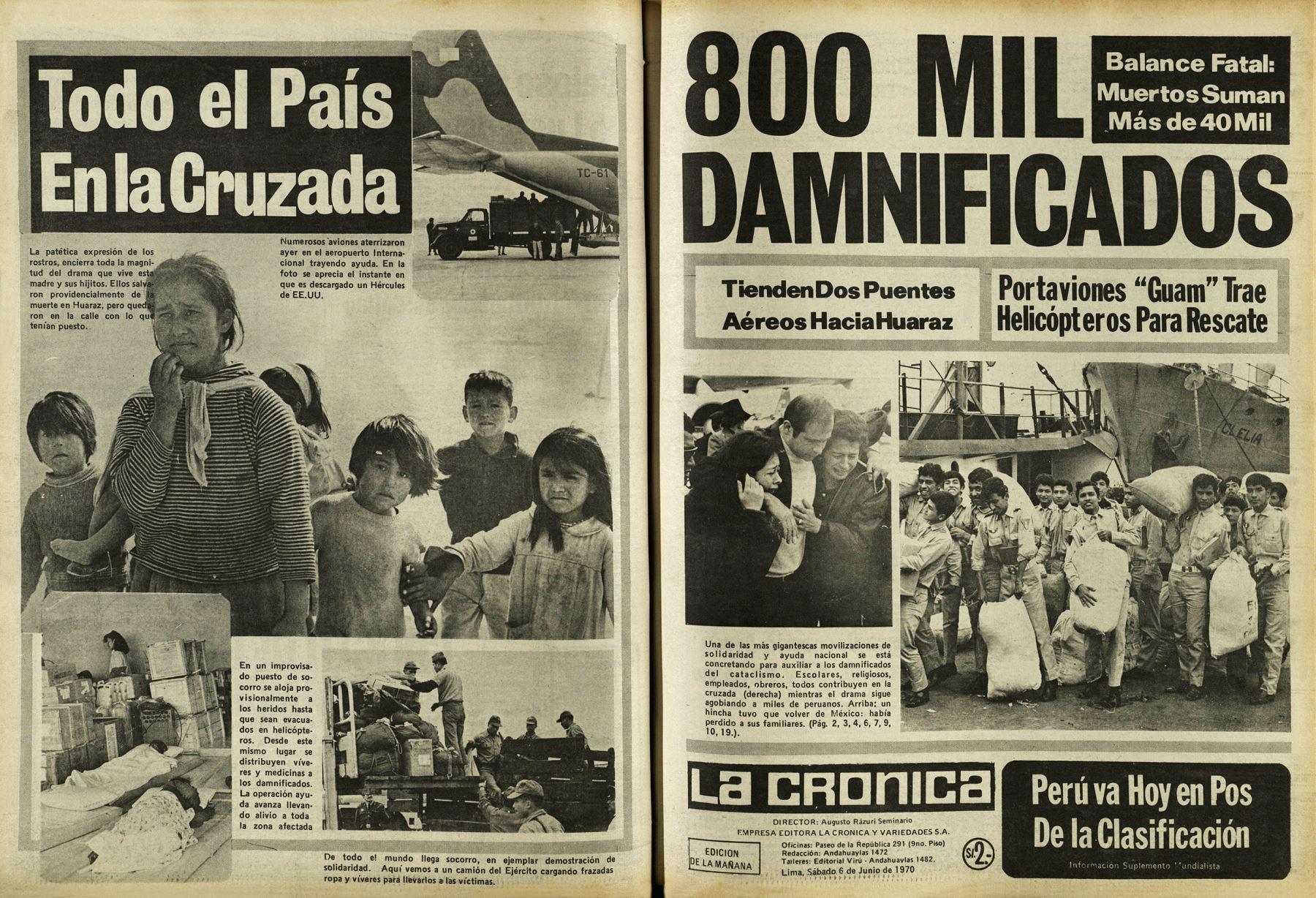 Diario La Crónica del 6 de junio de 1970 con amplia cobertura sobre la cruzada nacional por las víctimas del terremoto que devastó Yungay y otras ciudades del norte del país. Archivo Histórico de El Peruano
