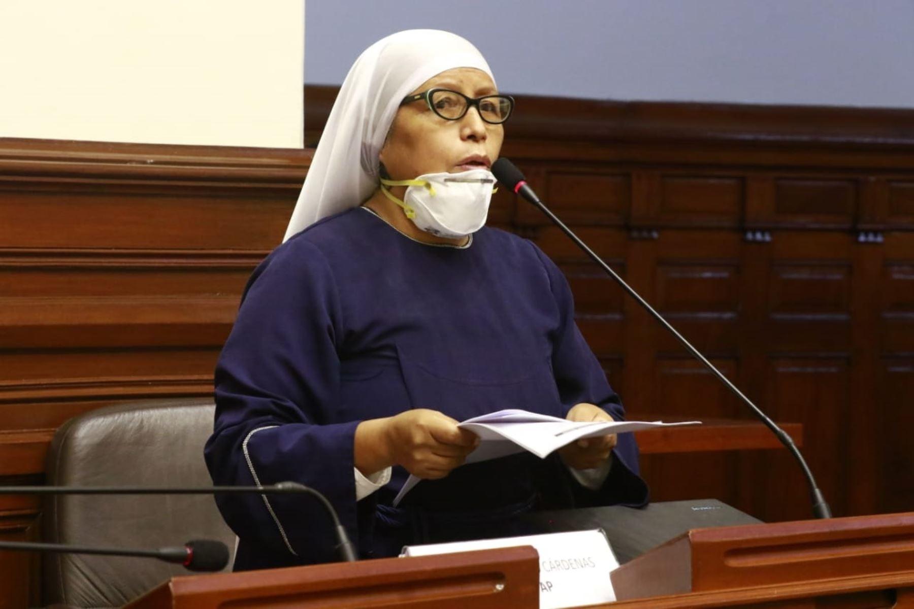 Congresista Teresa Céspedes, vocera de la bancada del Frepap.