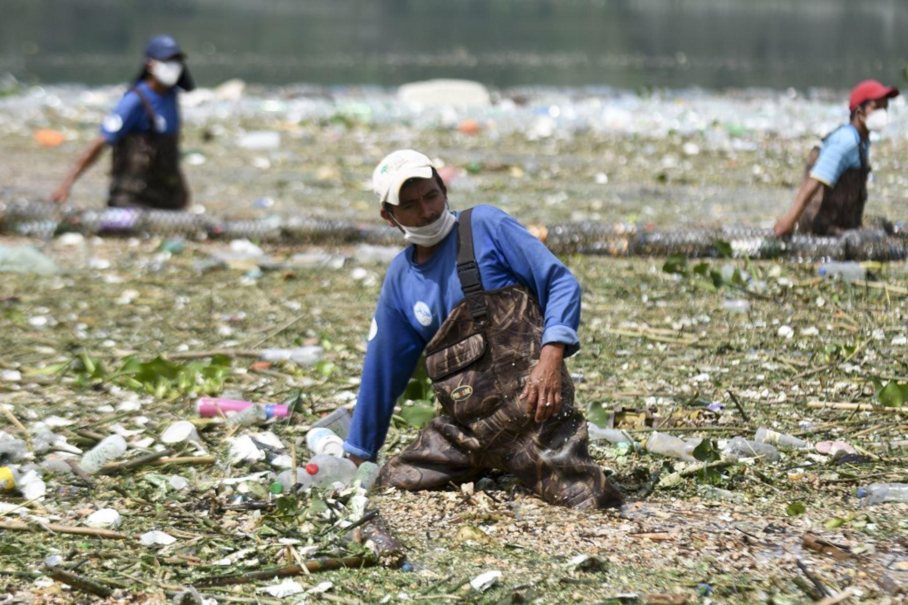 Los trabajadores de la Autoridad del Lago Amatitlán (AMSA) recolectan basura arrastrada por las lluvias y retenida por una barrera flotante instalada en uno de los afluentes del Lago en Amatitlán, 30 kms al sur de la Ciudad de Guatemala. Foto: AFP