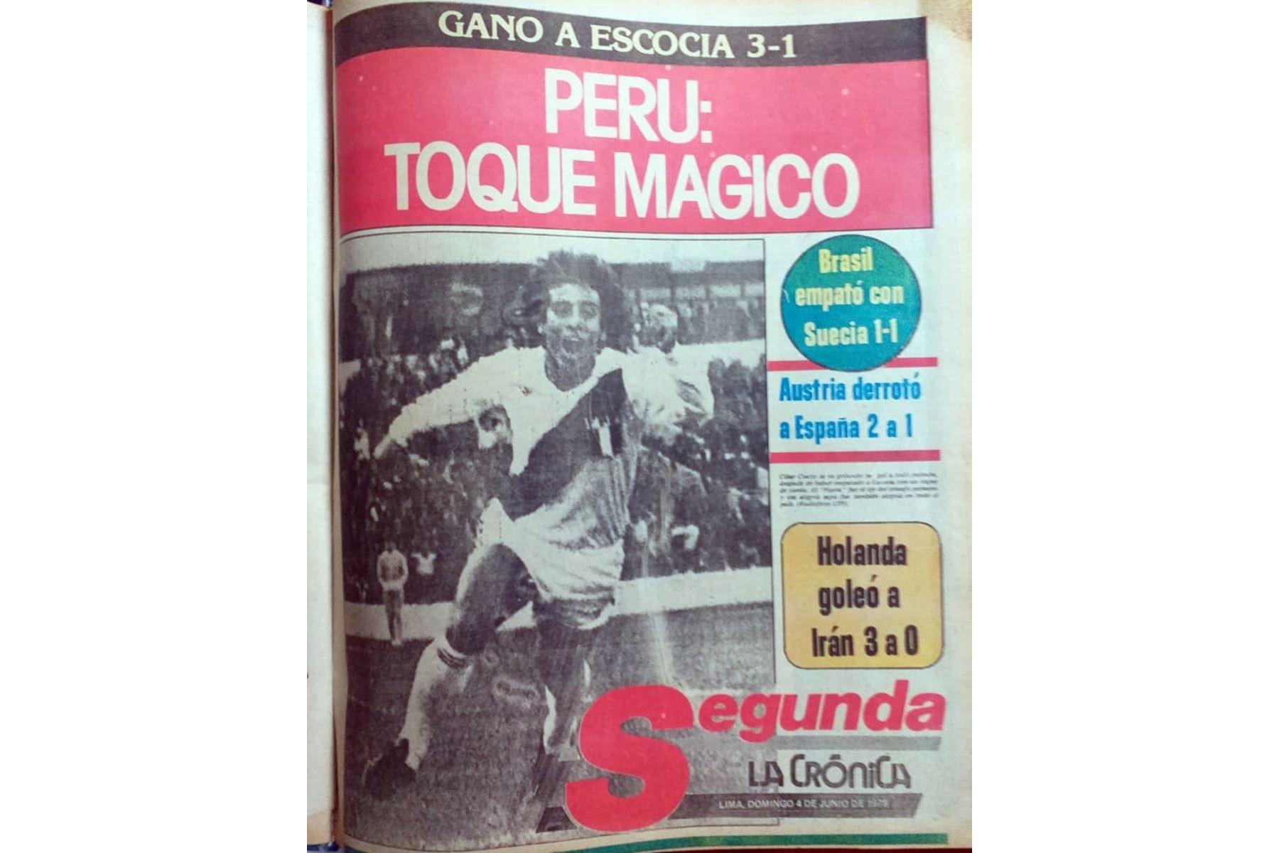 Cobertura del diario La Crónica sobre el triunfo de la selección peruana de fútbol 3-1 sobre Escocia en el Mundial Argentina 78 el 3 de junio de 1978. Foto: Archivo/ ANDINA