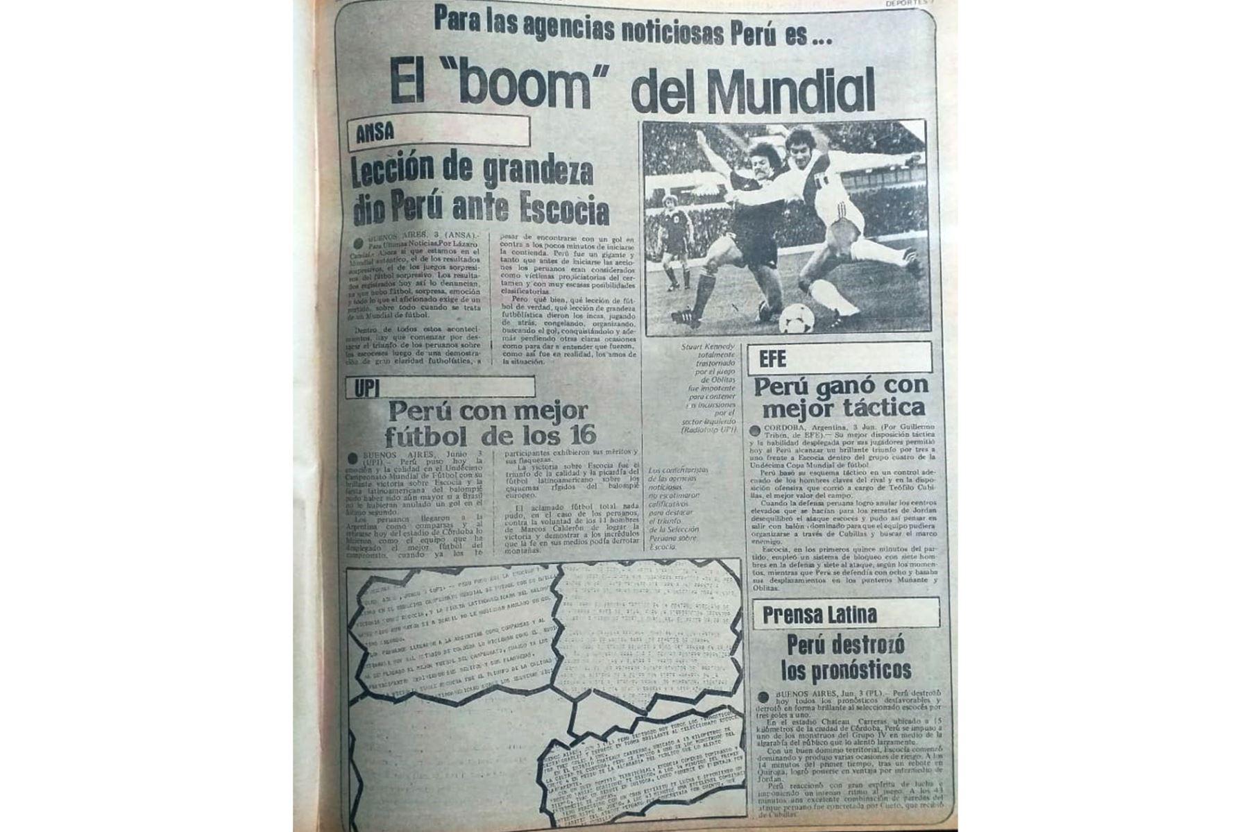 Cobertura del diario La Crónica sobre el triunfo de la selección peruana de fútbol 3-1 sobre Escocia en el Mundial Argentina 78 el 3 de junio de 1978. Foto: Archivo / ANDINA
