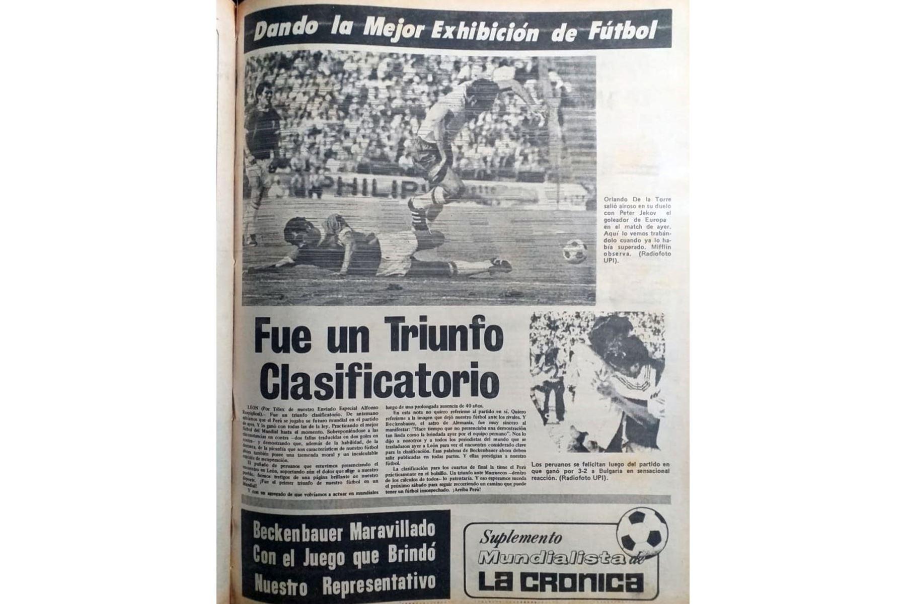 Cobertura del diario La Crónica sobre la actuación de las selección peruana de fútbol en el Mundial México 70. Archivo Histórico de El Peruano