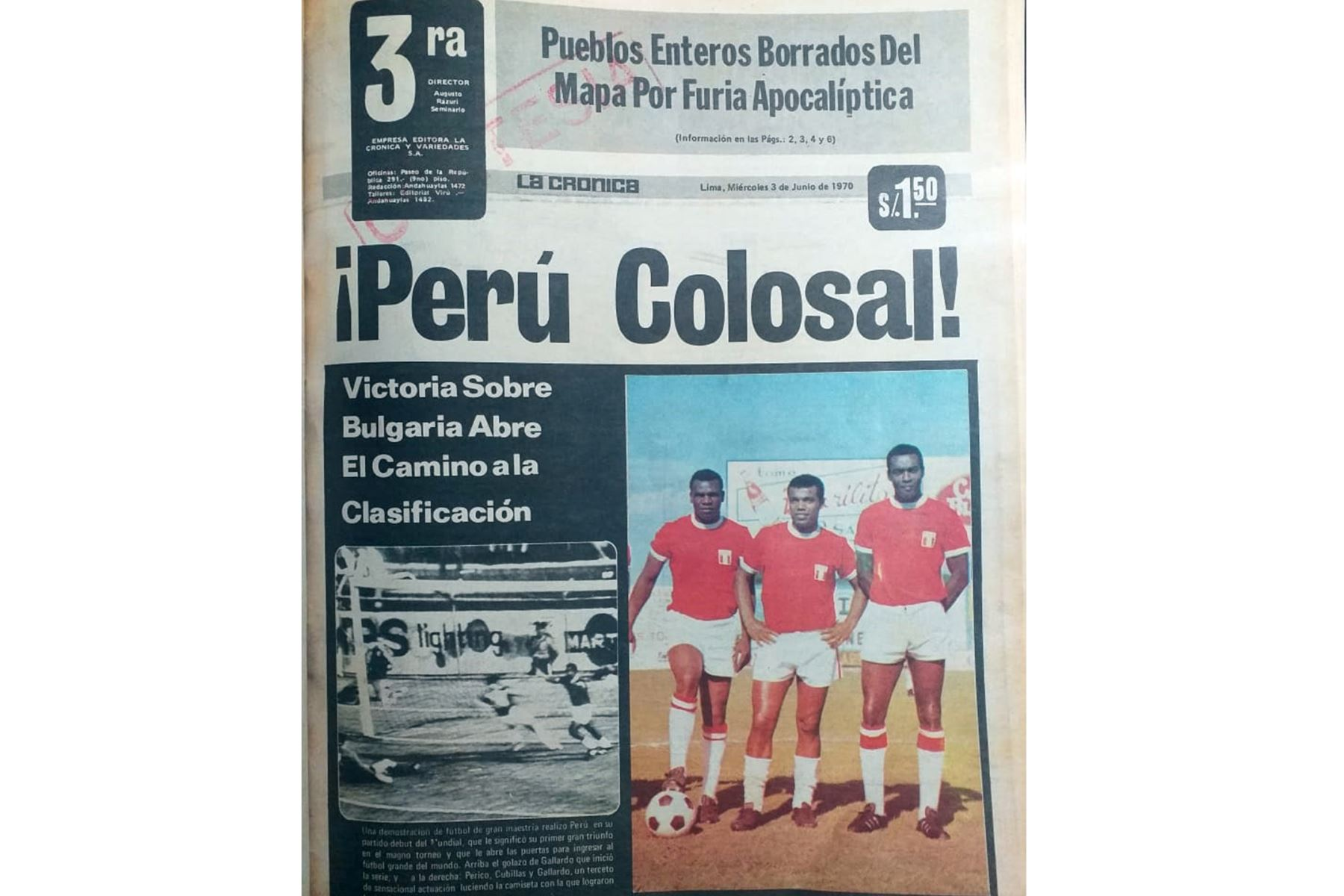 Cobertura del diario La Crónica sobre la actuación de las selección peruana de fútbol en el Mundial México 70.  Foto: Archivo Histórico de El Peruano