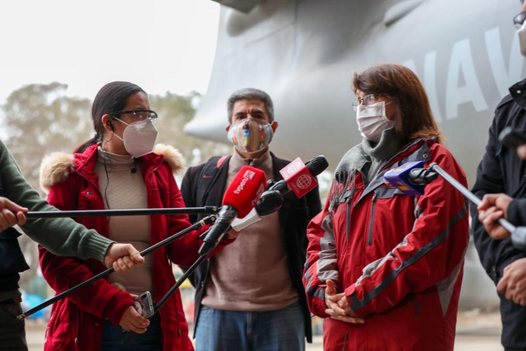 Jefe de Gabinete y ministros de Estado viajan a Ayacucho para reforzar acciones frente a la pandemia por Covid-19. Pilar Mazzetti, jefa del Comando de Operaciones COVID-19 forma parte de la comitiva. Foto: ANDINA/PCM