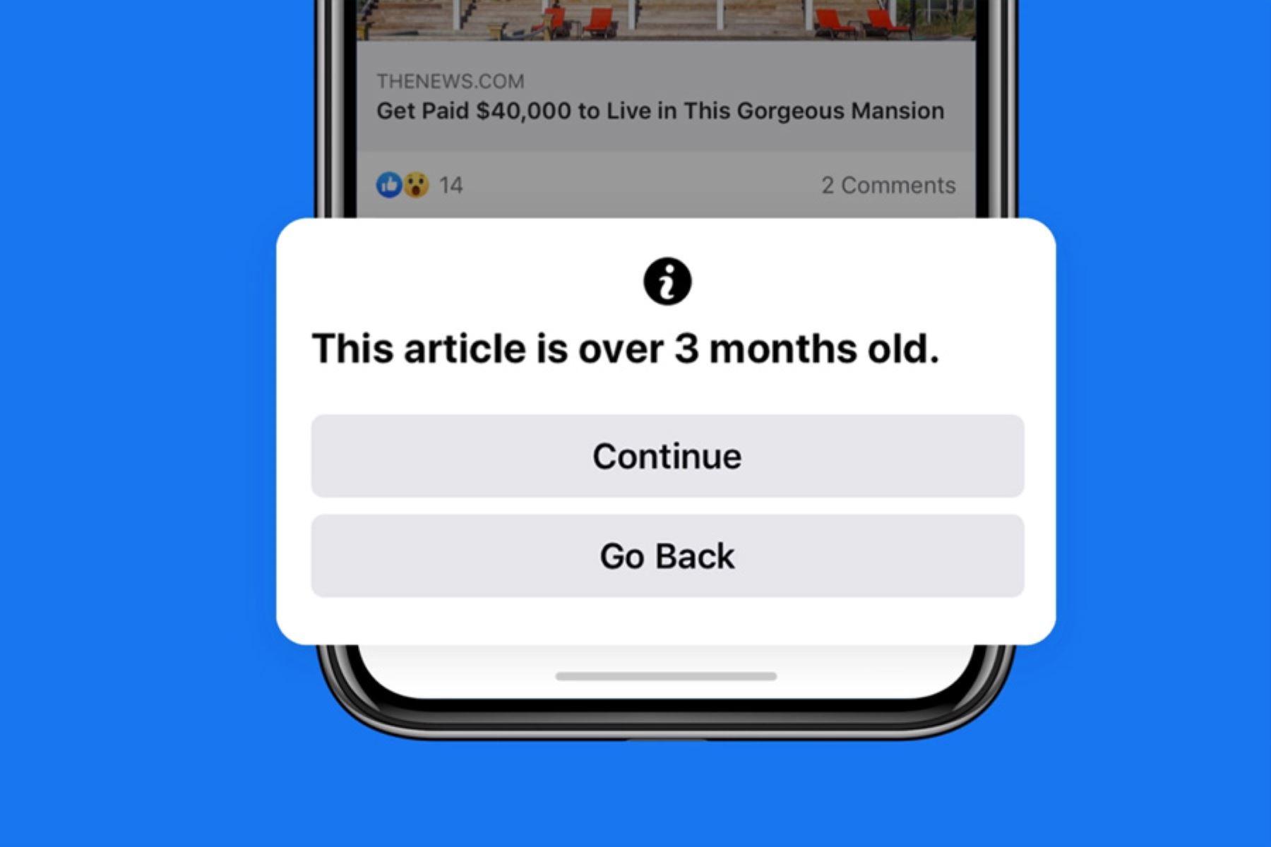 La pantalla de notificaciones permitirá saber si los artículos de noticias que están a punto de compartir tienen más de 90 días.
