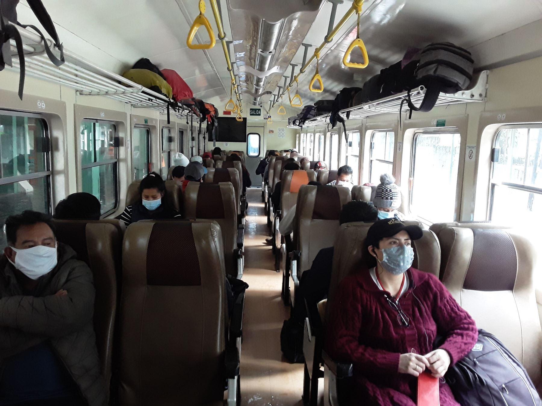 La empresa PeruRail culminó con la elaboración de su protocolo de salud y seguridad para reanudar su servicio turístico en los ferrocarriles que trasladan pasajeros a Machu Picchu. ANDINA/Difusión