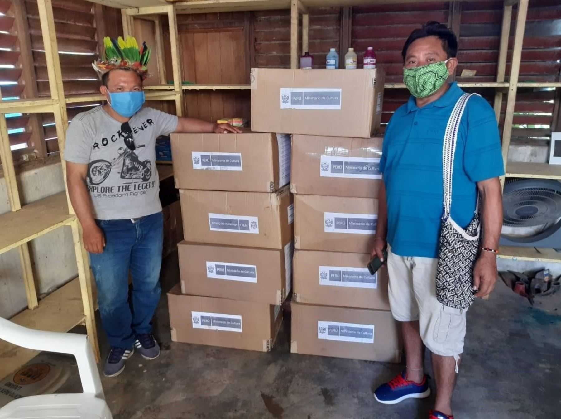 Ministerio de Cultura distribuye mascarillas en las comunidades indígenas asentadas en la provincia de Purús, región Ucayali. ANDINA/Difusión