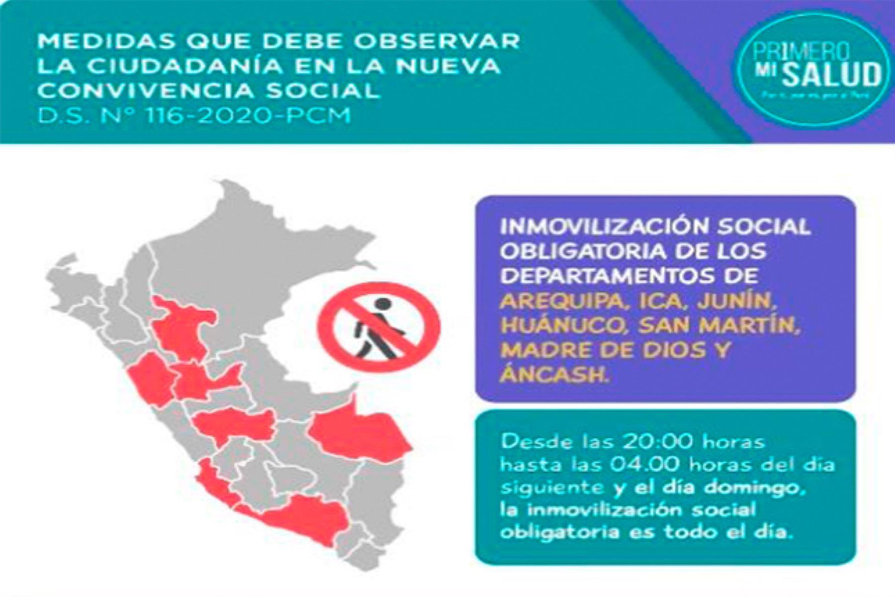 Desde mañana miércoles 1 de julio regirá la ampliación del estado de emergencia nacional hasta el 31 de julio, pero con una cuarentena focalizada en los departamentos de Áncash, Arequipa, Huánuco, Ica, Junín, Madre de Dios y San Martín.