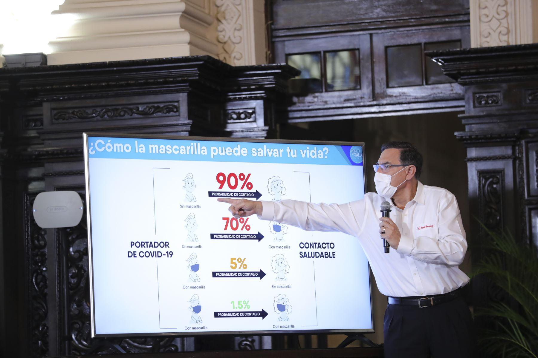El presidente Martín Vizcarra informa a la ciudadanía sobre las medidas adoptadas durante el estado de emergencia nacional, ampliado con una cuarentena focalizada del 1 al 31 de julio. Foto: ANDINA/Prensa Presidencia